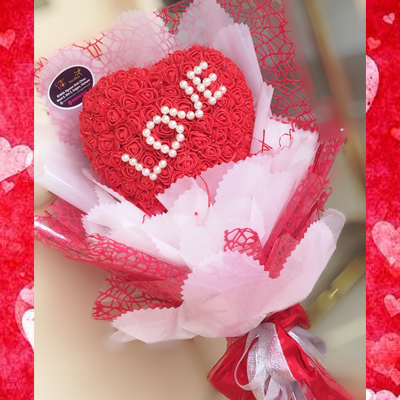 LOVE HEART RED ROSE BOUQUET (4MUA VOT-001RHRED1)