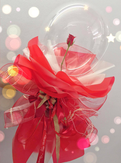 Rose inside transparent latex balloons bouquet 45cm / SaiGon only (4mua VOT-002CLBAL201901)