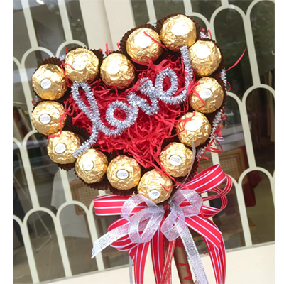 Ferrero Rocher heart bouquet / 14pcs (4mua VOT-CHH0110)