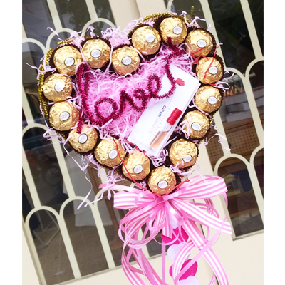 Ferrero Rocher heart bouquet with mini perfume 1,5ml / 16pcs (4mua VOT-CHH0110A)