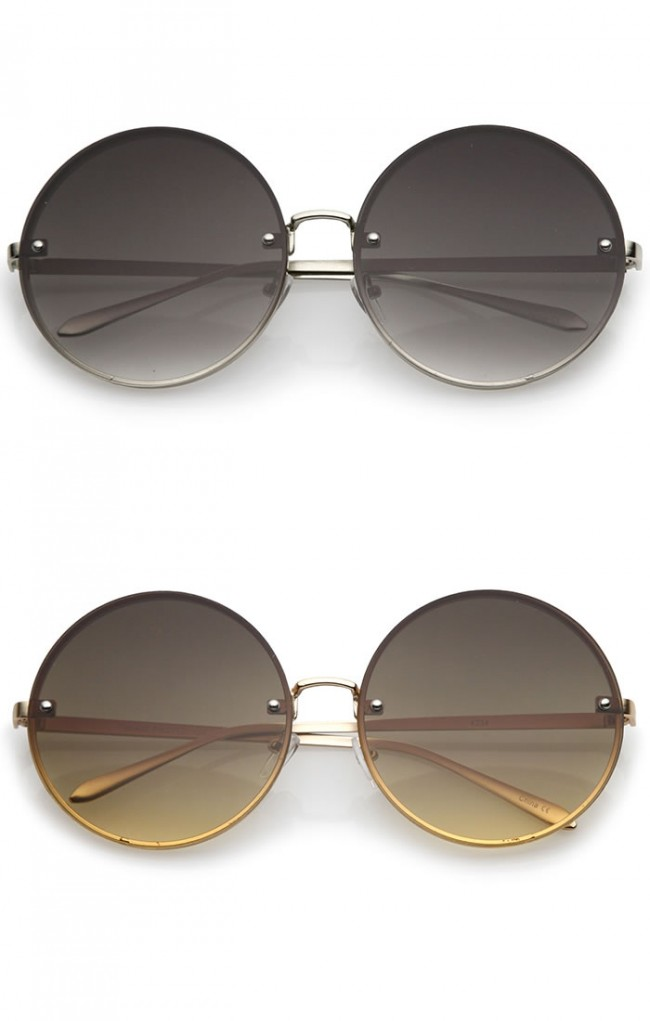 Oversize Rimless Slim Metal Temple Neutral Colored Flat Lens Round Sunglasses 65mm (4mua USG-ZERO25)