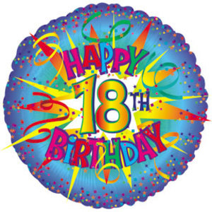 """Happy 18th Birthday"" mylar balloon 45cm x 45cm (4mua VOT-002B18TH)"