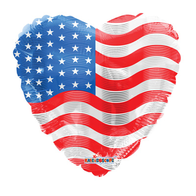 Patriotic heart mylar balloon 45cm x 45cm (4mua VOT-002PH)