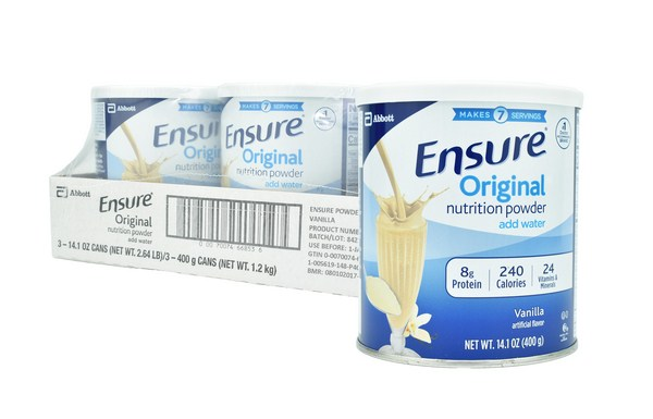 Ensure Original Nutrition Powder Vanilla for Meal Replacement 14.1 oz Cans / Pack of 3 / Made in USA (4mua HMI-01A1)